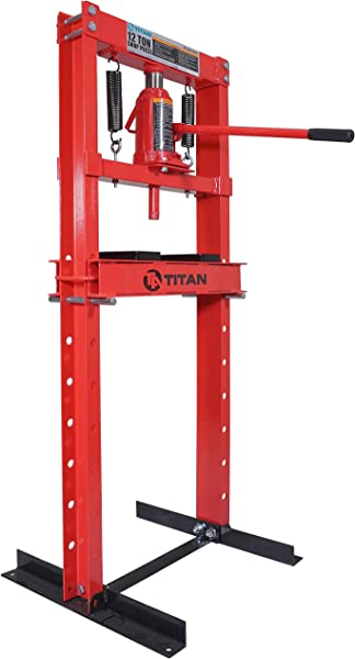 Titan 12 Ton Hydraulic Shop Floor Press H Frame 24000 Lb W Heavy Duty Steel Plates