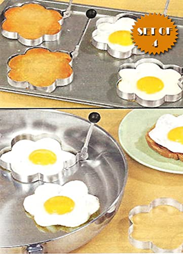 new arrival STAINLESS STEEL FLOWER SHAPED EGG/PANCAKE SHAPERS - SET wholesale OF 4 (TAKE THE BORING outlet online sale OUT OF BREAKFAST!) online