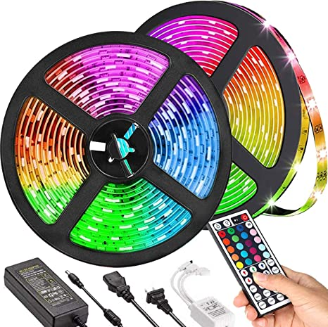 Amazon Com Led Strip Lights Tik Tok Lights Daufri Led Light Strip Color Changing Kit Waterproof Smd 5050 Rgb 32 8 Feet 10m 300 Leds With 44 Keys Ir Remote Controller And 12v Power Supply