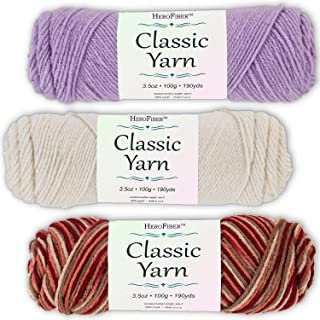 Soft Acrylic Yarn 3-Pack, 3.5oz / Ball, Light Lavender + Eggshell White + Sedona Blend. Great Value for Knitting, Crochet, Needlework, Arts & Crafts Projects, Gift Set for Beginners and pros Alike