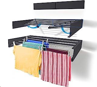 Step Up Etendoir à Linge - Fixation Murale - Rétractable - Étendoir à Linge Pliable pour l'intérieur ou l'extérieur - Écon...