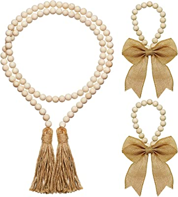 Wood Beaded Rustic Farmhouse Napkin Rings,Wooden Garland with Tassels Country Decor Prayer Beads Wall Hanging Decor Napkin Buckle Holder for Weddings Home D/écor 4 PCS