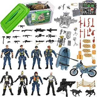 Liberty Imports Police Patrol Special Forces Action Figures Soldiers Vehicles & Accessories - Military Toy Combat Mega Playset in Storage Bucket (75 Pieces)
