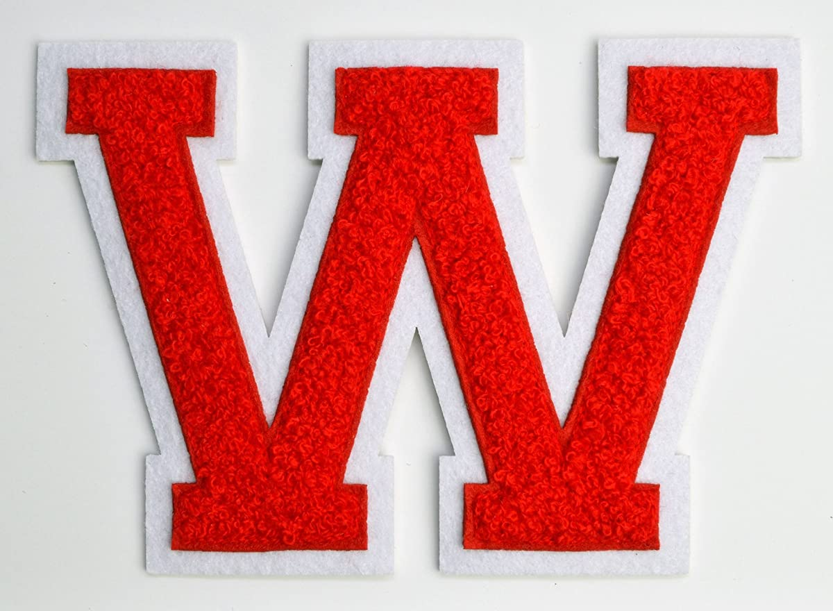 Varsity Letter Patches - Red Embroidered Chenille Letterman Patch - 4 1/2 inch Iron-On Letter Initials (Red, Letter W Patch)