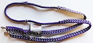 PRORIDER Knotted Horse Tack Western Barrel Reins Nylon Braided Silver Purple Bling 607474