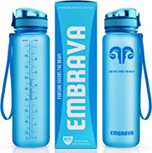 Embrava Best Sports Water Bottle - 32oz Large - Fast Flow, Flip Top Leak Proof Lid w/One Click Open - Non-Toxic BPA Free &...