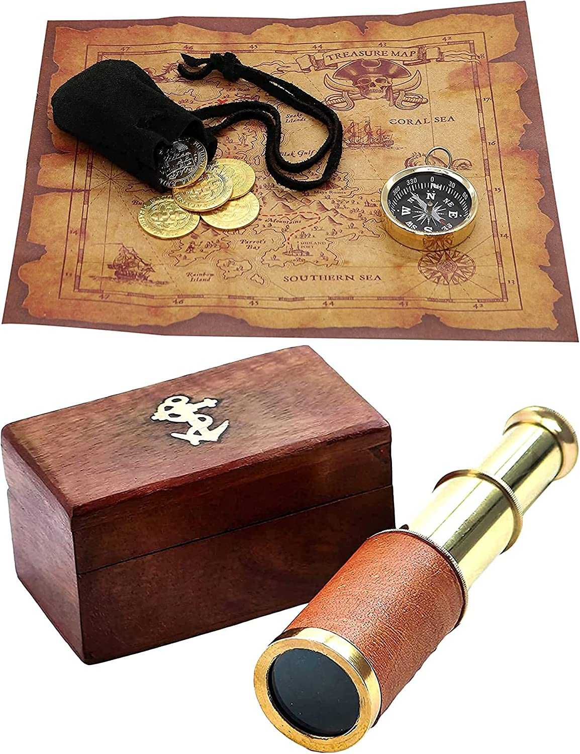 Discount mail order Mythrojan 40% OFF Cheap Sale Pirate Set Treasure Map Brass Compass and Functional