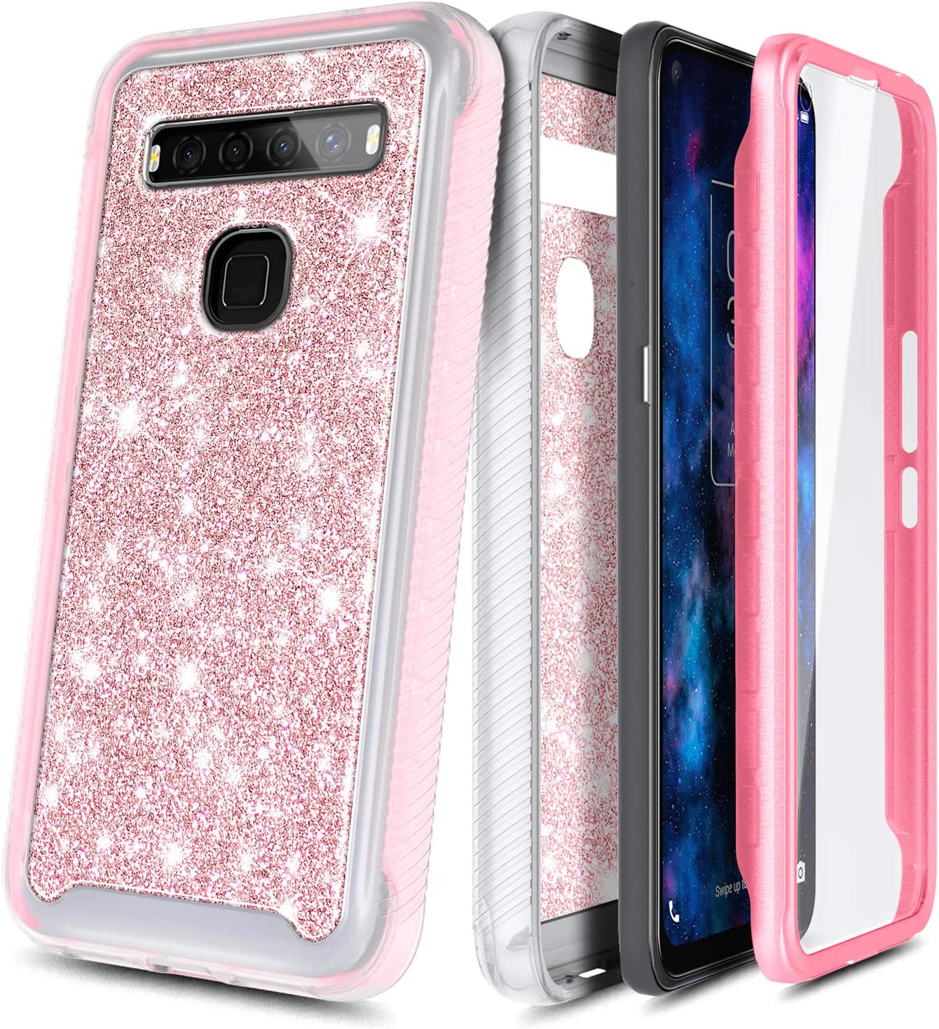 Verizon Impact Resist Durable Phone Case Full-Body Protective Shockproof Matte Rugged Bumper Cover NZND Case for TCL 10 5G UW Glitter Rose Gold with Built-in Screen Protector