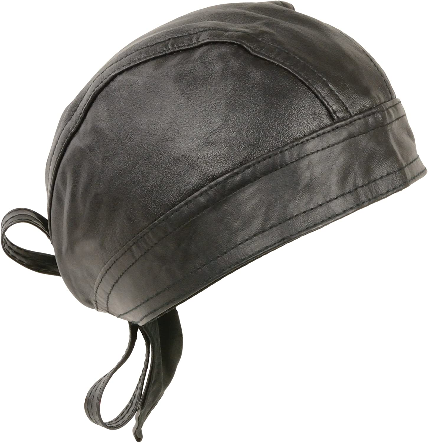 Amazon Com Unisex Leather Skull Cap Solid And Perforated Versions Black Solid Automotive