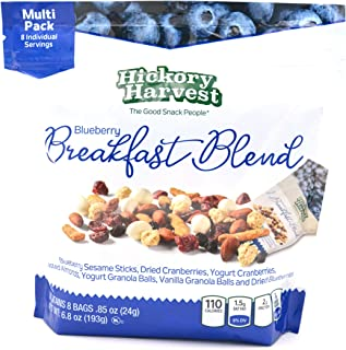 Healthy Trail Mix Snack Packs, 1 Pack of 8 Bags (.85 oz) | Includes Nuts and Dried Fruit, Cranberries, Almonds, Yogurt | Energy Snack | Blueberry Breakfast Blend