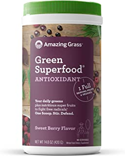 Amazing Grass Green Superfood Antioxidant: Super Greens Powder with Spirulina, Elderberry & Probiotics, Sweet Berry, 60 Se...