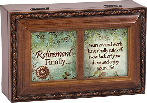 Retirement Enjoy Your Life Wood Finish Jewelry Music Box Plays Tune Ave Maria