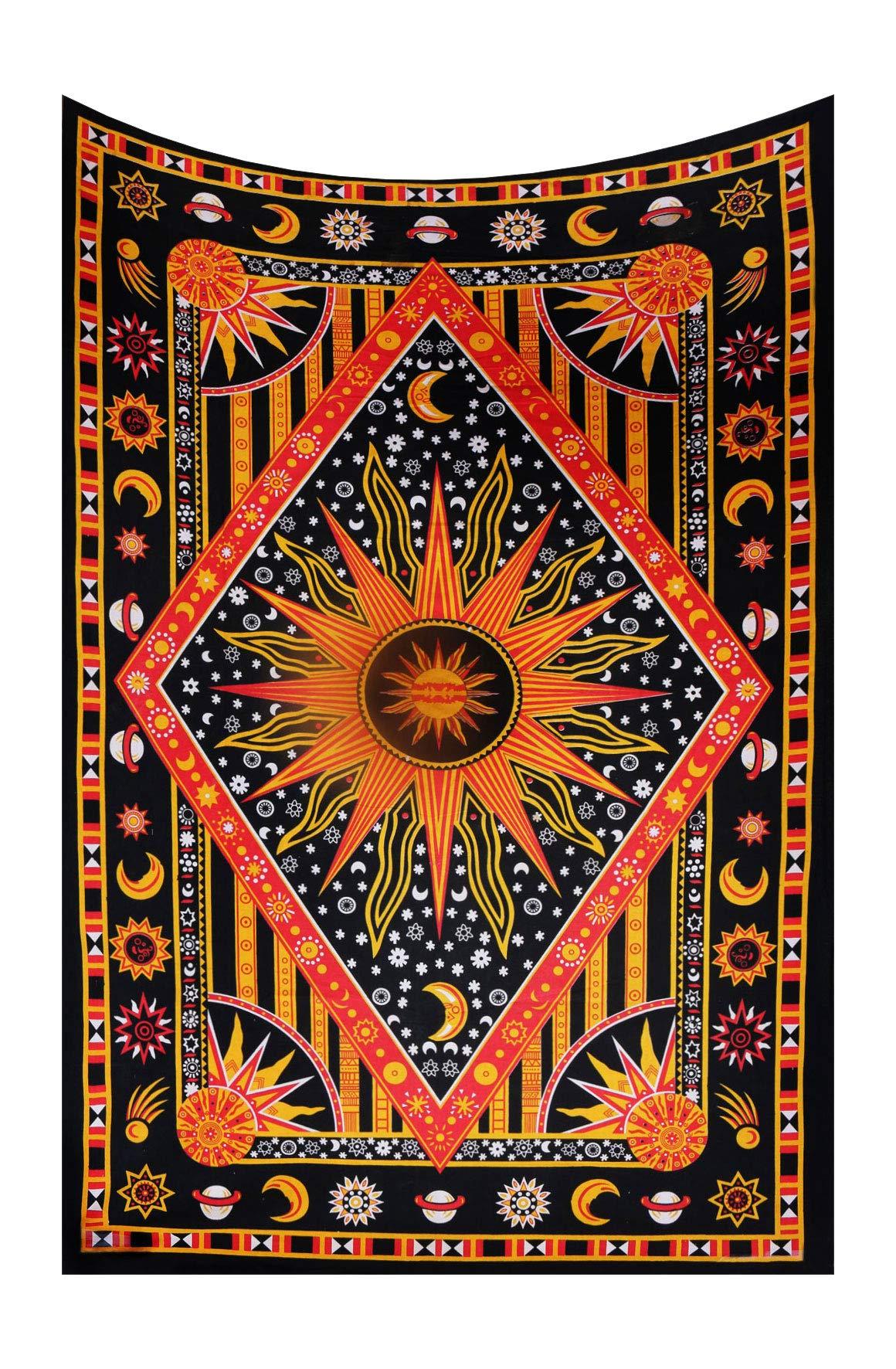Dorm Decor Wall Hanging Hippie Tapestry Bohemian Indian Sun Moon Star Mandala