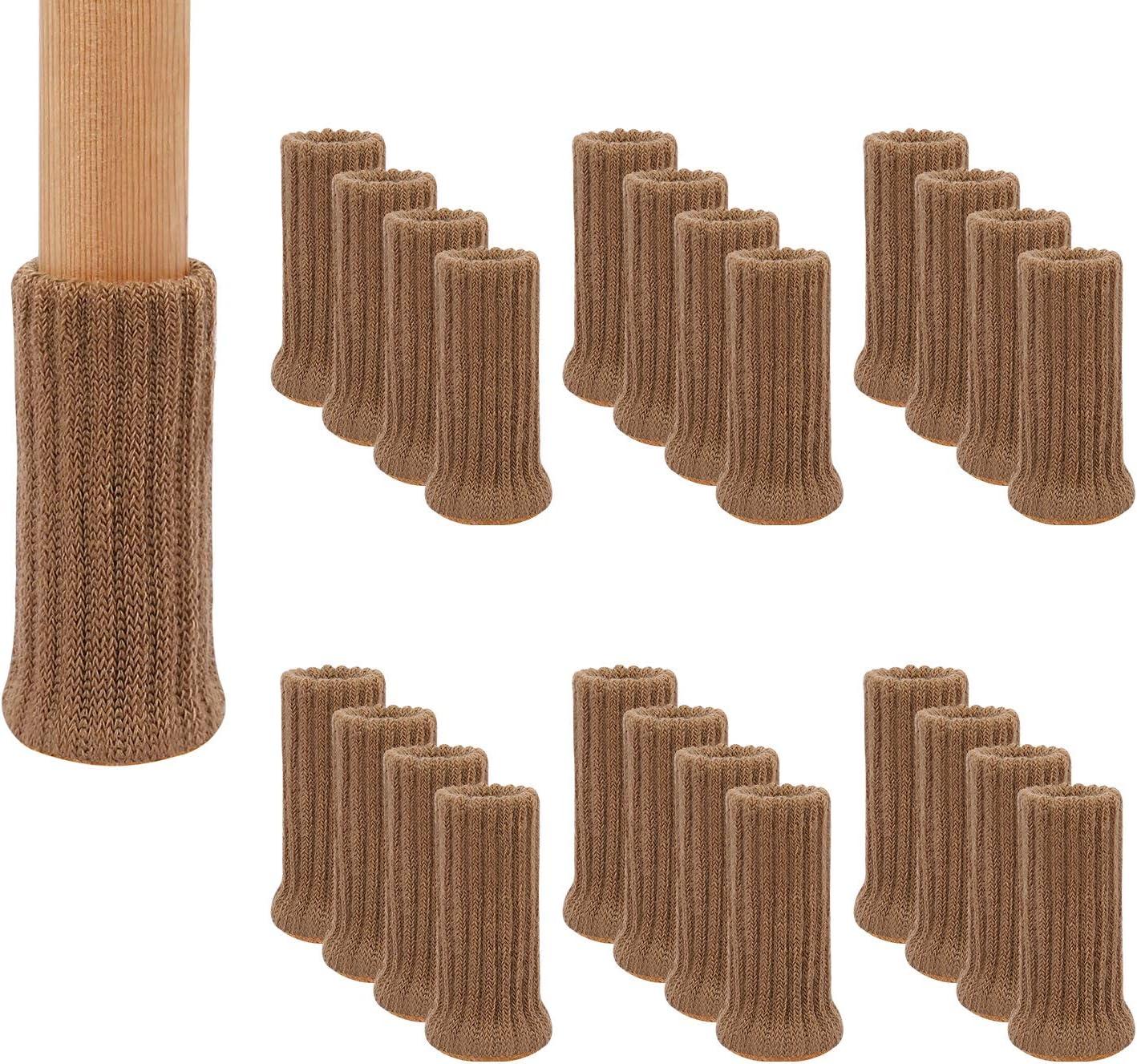Marr/ón 32 Piezas de Punto El/áStico Para Muebles Doble Grosor Se Ajustan a Patas Redondas con Di/áMetro de 2,5 a 5 cm, Protectores de Suelo Para Silla AIRUJIA Calcetines Para Patas de Silla