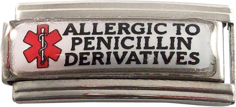 Allergic to Penicillin Derivatives Medical Alert ID Italian Charm for Bracelet Men or Women Awareness Stainless Steel