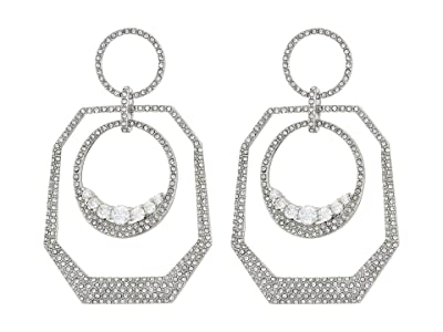 Vince Camuto Gypsy Hoops Earrings (Rhodium/Crystal) Earring