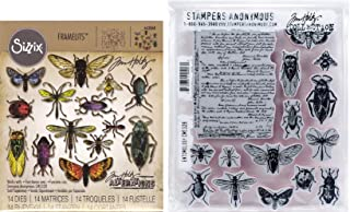 Tim Holtz Entomology - Stampers Anonymous Cling Stamps and Sizzix Framelits Die Set - Two Item Bundle