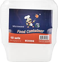 Bel Plastic Food Container with Lid, Square (Pack of 10)