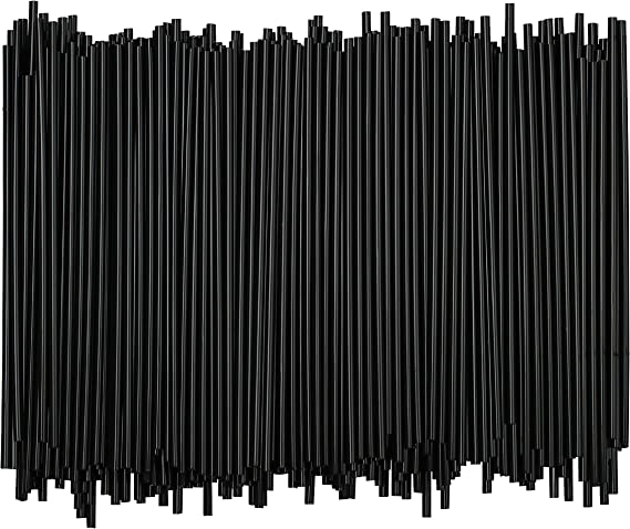 Disposable Plastic Coffee Stirrer Straw - 5 Inch Sip Stir Stick (Black