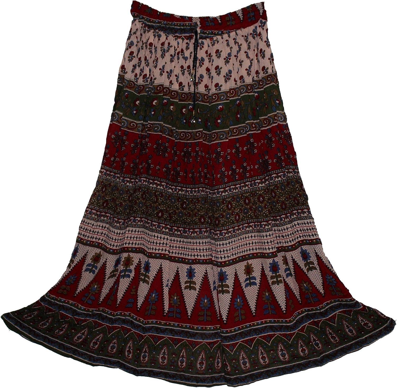 FOI Rayon Wrinkle Skirt Indian Kjol Jupe Retro Boho Falda Women Gypsy Hippy