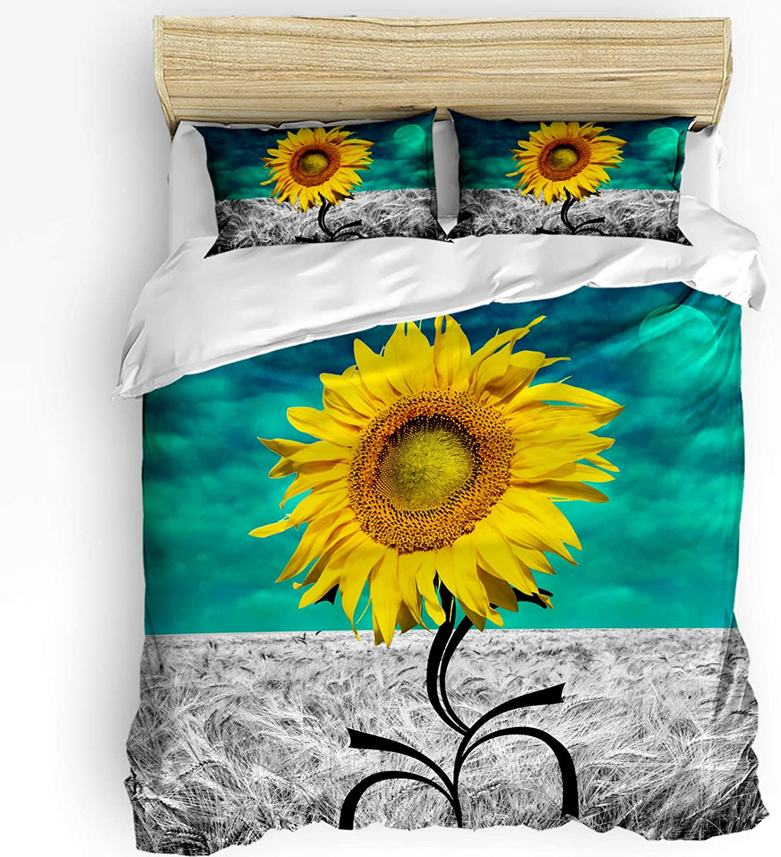 Funy Decor Bedding Albuquerque Mall Duvet Cover Set Sunflower B Abstract Pieces Regular discount 3