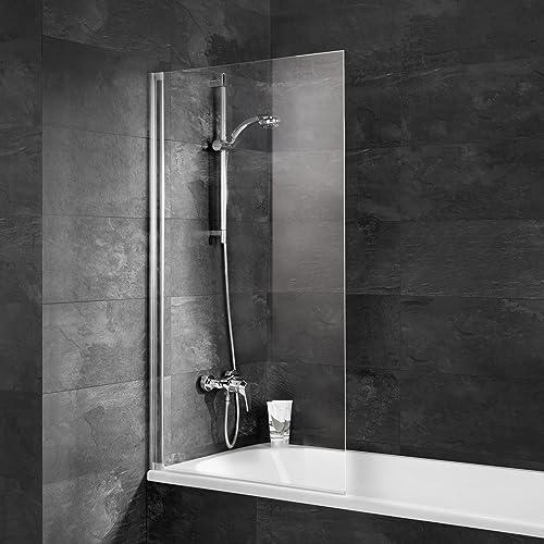Schulte Pare baignoire rabattable, paroi de baignoire pliante 70 x 130 cm, pare-douche avec 1 volet pivotant, écran baignoire verre transparent, profilé alu nature
