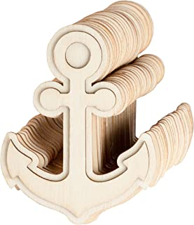 24-Pack Unfinished Wood Anchor Cutouts - 3 x 3.875-Inch Anchor Wood Shapes for Kids DIY Craft, Nautical Party Decoration