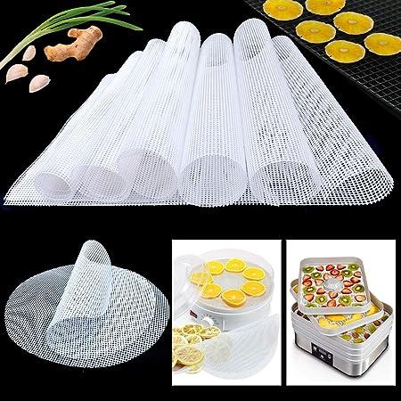 YWQ 10 Pièces Feuilles de Déshydrateur Carrées en Silicone,Anti-adhésif Tapis de Silicone, Tapis Déshydrateur Antiadhésifs de Fruits,Alimentaires Réutilisables Tapis de Cuisson en Filet à Vapeur
