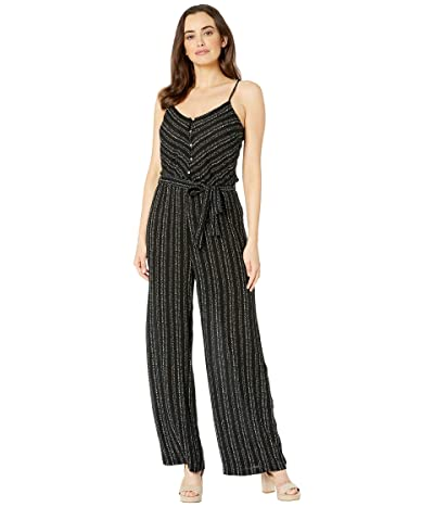 American Rose Evelyn Button Up Jumpsuit (Black) Women