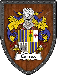 Correa Family Crest Custom Coat of Arms, Family Ancestry and Heritage Hanging Metal Wall Plaque Shield - Hand Made in the USA