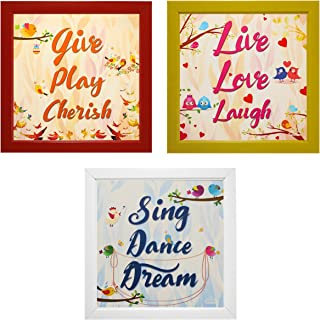 Indianara 3 Piece Set of Framed Wall Hanging Motivational Quotes Art Prints (2054) 9.5 inch X 9.5 inch Without Glass