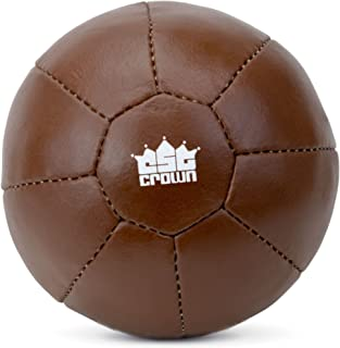 Crown Sporting Goods Vintage Soft Touch Leather Weighted Medicine Ball for Core Fitness, Resistance, Strength Training, Exercise Conditioning
