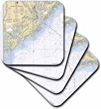 3dRose Print of Charleston Harbor Nautical Chart - Soft Coasters, Set of 4 (CST_204862_1)