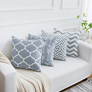 Yumin Grey Throw Pillow Cases Decorative Soft Geometric Style Throw Pillow Cover Cushion Case for Sofa 18 x 18 Inch Set of 4