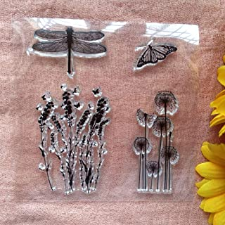 GAWEI Clear Stamps for Scrapbooking and Card Making Dandelion Dragonfly Butterfly Transparent Stamps Silicone Stamps Photo...
