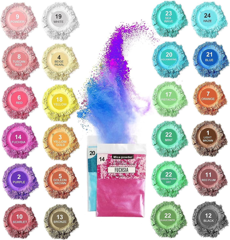 Polvo de Mica, Polvo de Pigmento de Resina de 24 Colores, Polvo de Pigmento de Mica Orgánica para Jabón Bombas de Baño Resina EpoxiBrillo LabialUñas Fabricación de Velas