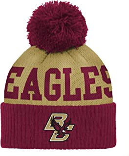 Outerstuff Little Kids NCAA Infant Jacquard Cuffed Pom Hat, Burgundy, One Size