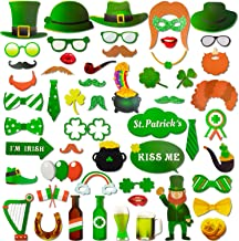 Zhanmai 55 Pieces St Patrick's Day Photo Props Shamrock DIY Booth Props for Irish Party Decoration Supplies