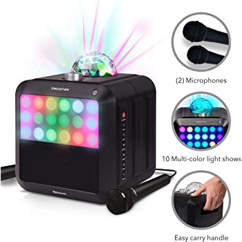 Portable Karaoke Machine - Singsation Star Burst - System Comes w/ 2 Mics, Room-Filling Light Show, Retro Light Panel & Works via Bluetooth - No CDs Required - YouTube Your Favorite Karaoke Songs