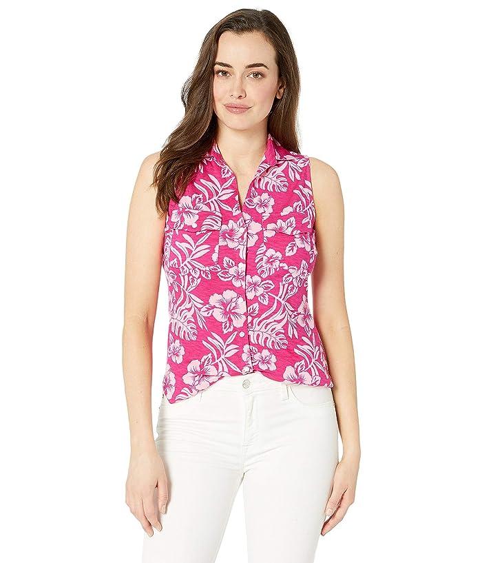 Tommy Bahama Hoani Hibiscus Sleeveless Camp Shirt (Rose Bed) Women