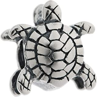 Queenberry Sterling Silver Sea Turtle Nautical Animal Bead for European Charm Bracelets