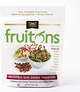 Traina Home Grown Fruitons Seasoned California Sun Dried Tomatoes and Italian Herbs - No Added Sugar, Non GMO, Gluten Free, Kosher Certified, 6 oz pouch (pack of 2)