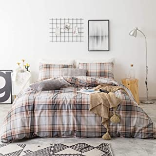 SUSYBAO 3 Piece Duvet Cover Set 100% Natural Cotton King Size Khaki Tartan Bedding Set with Zipper Ties 1 Grey Plaid Striped Duvet Cover 2 Pillowcases Luxury Quality Soft Cool Comfortable Lightweight