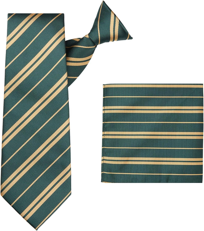 Jacob Alexander Woven Double Stripe Men's Clip-On Neck Tie and Pocket Square Set