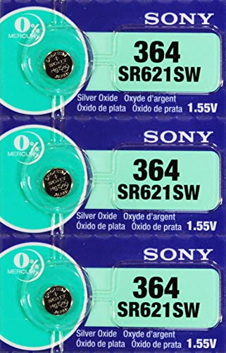 Sony 364 (SR621SW) 1.55V Silver Oxide 0% Hg Mercury Free Watch Battery (3 Batteries)