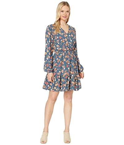 American Rose Vivian Long Sleeve Faux Wrap Floral Dress (Denim/Pink) Women
