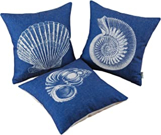 CaliTime Set of 3 Canvas Throw Pillow Covers Cases for Couch Sofa Home Decoration Mediterranean Sea Shells Print 18 X 18 Inches Navy Blue