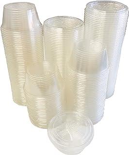 أكواب وأغطية بلاستيكية قابلة للتحلل البيولوجي بسعة 59 مل - أكواب سوفليه شفافة قابلة للتحلل البيولوجي - 100 قطعة