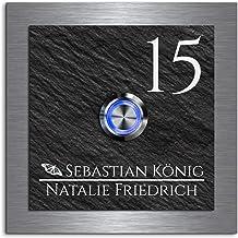Elegante deurbel met gravure en led-belknop en meer dan 100 motieven personaliseerbaar 10x10 cm | model: Friedrich-e | geg...