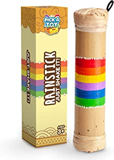Pick A Toy Bamboo Rainstick Rain Shaker Sensory Toy Musical Instrument for Kids and Adults, Lightweight and Easy to Use Music Game, Rainbow Colored Rain Maker – with Gift Box